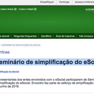Seminário de simplificação do eSocial