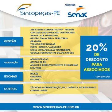 Associados Sincopeças-PE têm 20% desconto em cursos do Senac