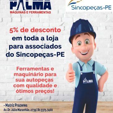 Parceria concede 5% de desconto para associados na Palma Máquinas