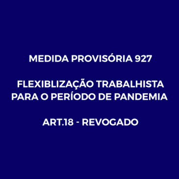 MEDIDA PROVISÓRIA No 927, DE 22 DE MARÇO DE 2020